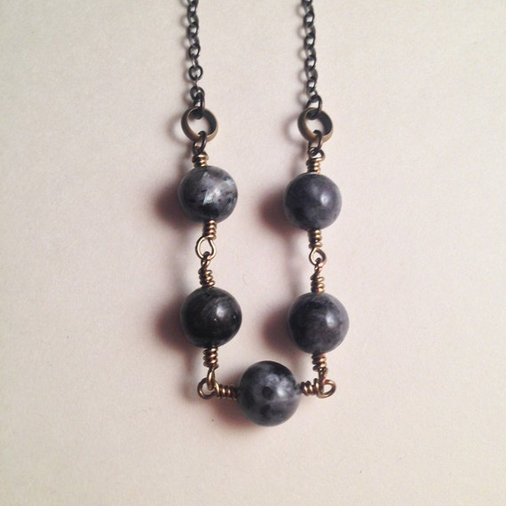 Planned Parenthood Fundraiser Five of Swords Black Labradorite Lunar Cycle New Moon Gemstone Necklace | Air Witch