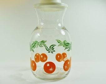 Large Vintage Orange Juice Glass Bottle With Lid, Fridge Carafe, Glass Pitcher, Kitchenalia