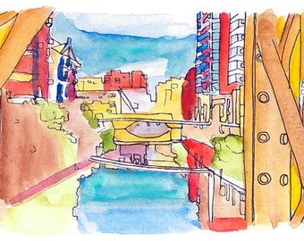 River Irwell, Manchester - Bespoke watercolour card/print