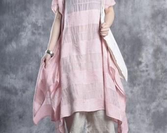 Womens Summer Loose Fitting Silk Linen Long Dresses, Summer Casual Dresses, Travel Dresses, Beach Dresses, Linen Dresses, Pink Dresses