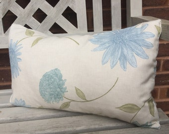 Blue floral decorative feather cushion