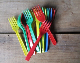 Vintage Plastic Forks Primary Colors Collection