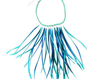 Blue Feather Necklace