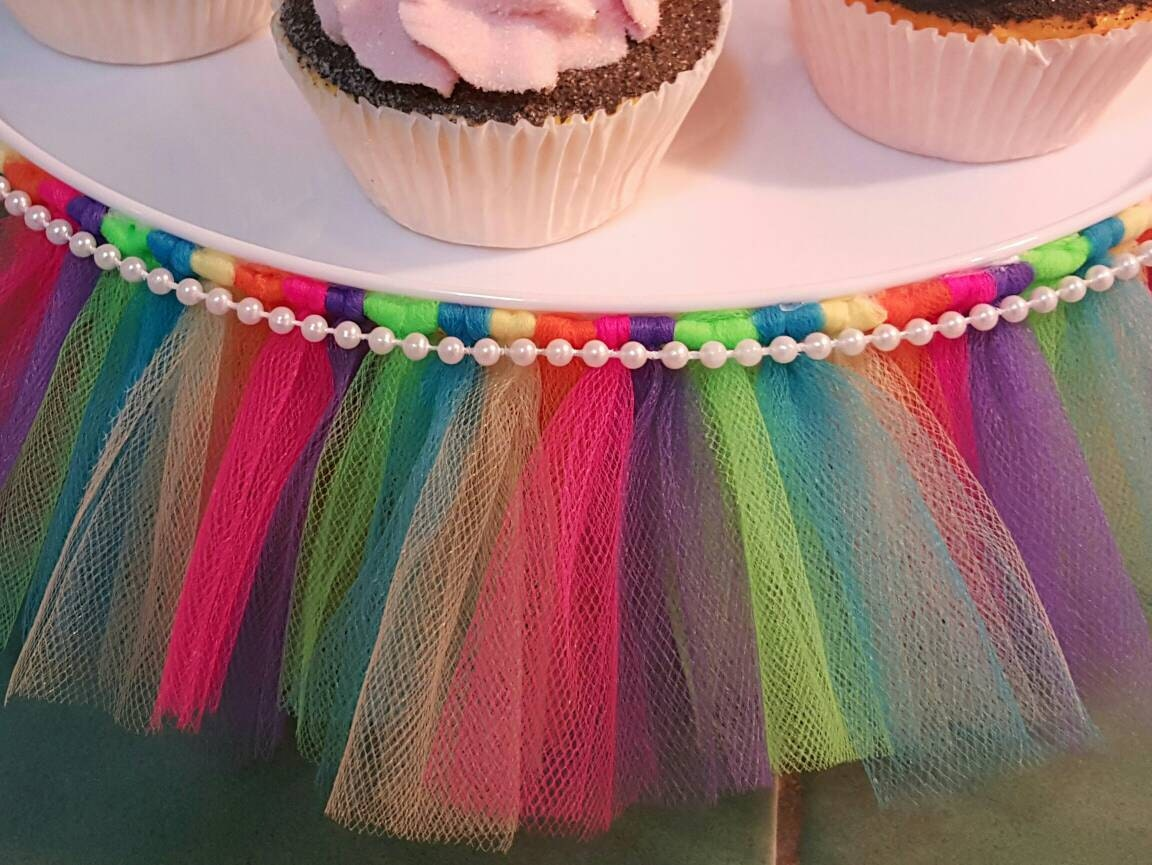 Tutu Cake Stand Rainbow Cupcake Tulle Skirt By Colorfultutufun
