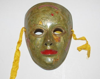 SOLID BRASS MASK Wall Hanging Mardi Gras - T660