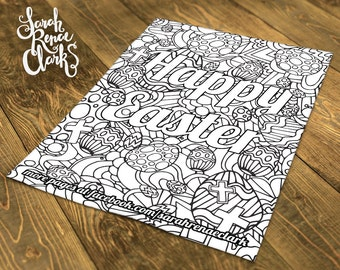 Customized Easter coloring page -Printable A4 Easter eggs coloring page with your personalized message. Instant Digital Download PDF or JPEG