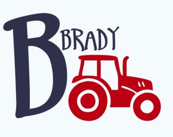 Personalized Tractor and Name Vinyl Wall Decal, Name Wall Decal, Initial Name Tractor Wall Decal