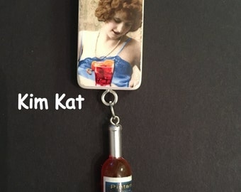 Domino Art Altered Domino SARCASTIC Drunk LADY Fueled By Scotch Decoupage Wine Bottle Charm Pendant Necklace OOAK