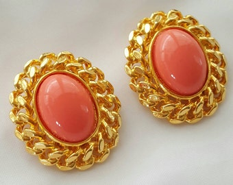 Faux coral statement earrings