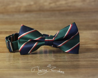 Bow tie - Bowtie in green and blue strip