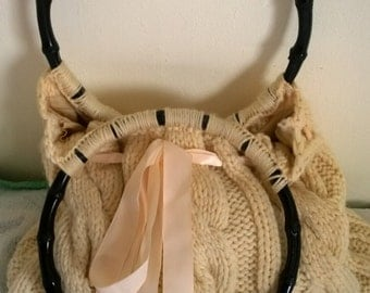 hand-knitted wool vintage handbag