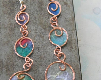 Three spirals - multicolored earrings
