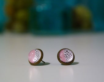 Pink, White & Black Dots Cabochon
