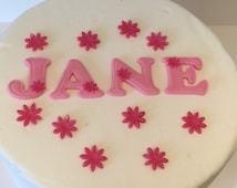Personalised Edible Fondant Letters and flowers Cake Topper
