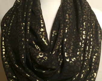 Gold Cheetah Print Sheer Infinity Scarf Gift for her Fall Christmas Winter Scarfs Scarves Tube Black