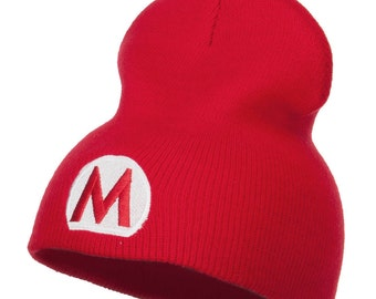 Circle Mario Embroidered Short Beanie
