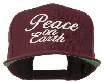 Peace on Earth Embroidered Snapback Cap