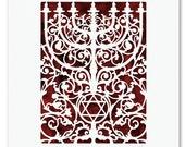 Seven 7 Branch Menorah Papercut, Judaica Wall Hanging Art, Star of David Wedding Gift Candelabra Paper Cut, Prague Cathedral,