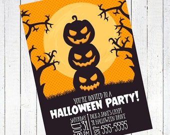 halloween party invitation card pumpkins shadow silouette - Pumpkins Silhouette Halloween Party Invitation