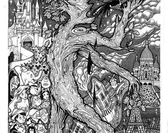 PSYCHEDELIC ILYA MUROMETS // Screenprinted Poster Fairytale Legend Original Artwork Pen & Ink Illustration