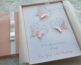 Birthday Card Handmade Personalised Boxed Keepsake 3D Butterfly  1st 2nd 16th 18th 21st Daughter Granddaughter Mother Grandmother