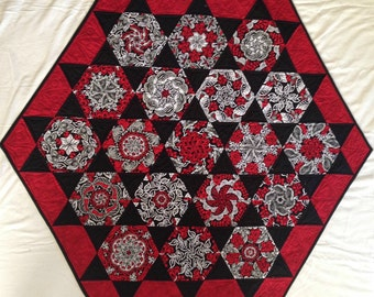 Black and white and red one block wonder wall hanging