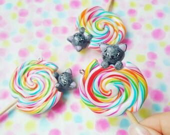 """Necklace """" Rainbow Lollipop Kitty """""""