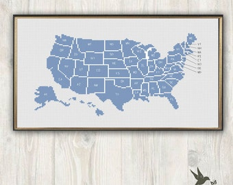 Map of the United States of America with State Names Abbriviation Modern Cross Stitch Pattern Needlecraft