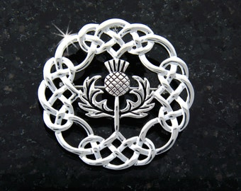 Stunning Eternity Celtic-knot Thistle Brooch/Pendant (#JPEW6074)