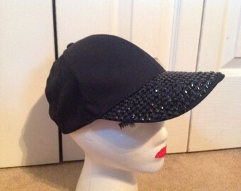 Black Embellished Baseball Cap