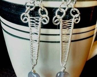 Carnelian earrings, orange earrings, quartz and carnelian earrings, silver earrings, gemstone earrings, gifts for her, wire wrap earrings