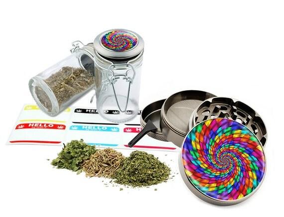 "Psychedelic - 2.5"" Zinc Alloy Grinder & 75ml Locking Top Glass Jar Combo Gift Set Item # 110514-0014"