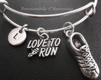 I LOVE TO RUN bracelet, Silver tone Expandable Bangle, monogram personalized item No.596