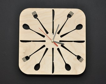 Wooden Kitchen Wall Clock Cutlery