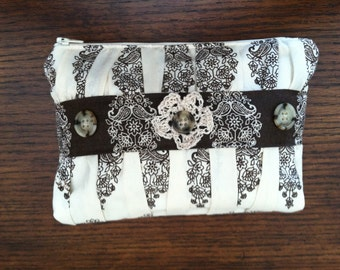 Gathered Cosmetic Makeup Bag with Ivory/Brown Print