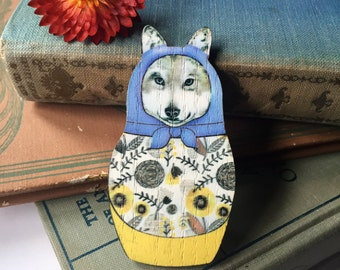 quirky and cute wolf matryoshka brooch, gift for her