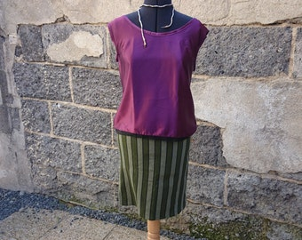 Green striped right vintage skirt