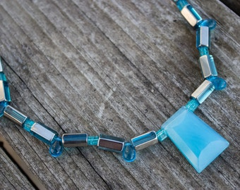 Blue Glass Statement Necklace