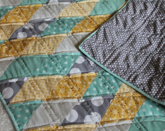 Minky Baby Blanket - Gender Neutral - Baby Gift - Yellow, Grey, Turquoise, Teal - Polka Dots - Baby Quilt