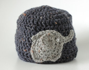 Crochet hat, elephant motif winter hat, baby girl hat, baby boy hat, crochet beanie. MADE TO ORDER