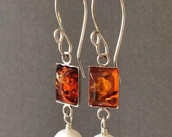 Handmade Sterling Silver Earring, Baltic Amber, Fresh Water Pearl, Handmade Earwires