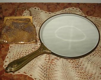 Beautiful 1950's Floral Motif Brass Handled Vanity Mirror! #CT