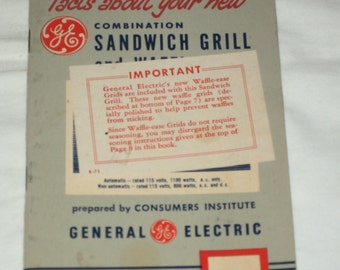 1950's General Electric Combination Sandwich Grill Manual! #AP