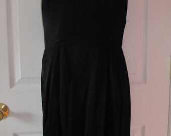 vintage women's black silk halter type dress with jacket