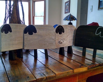hand-painted, pallet wood Sheep Family