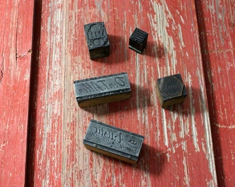 Quick collection of 5 letter press stamps, vintage advertising stamps