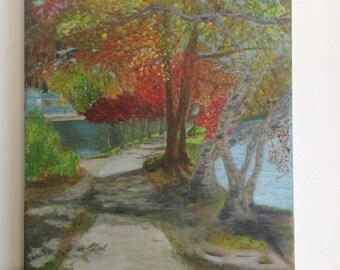 Park landscape fall original acrylic painting