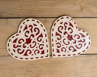Ceramic heart, red ornament heart, ceramic red heart, Romantic Gift, Wall heart, wall hanging heart, ceramic heart ornament, wall decor
