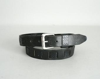 Womens Black Leather Western Belt