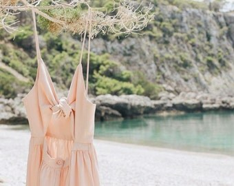 Women dress unique, Summer dress, romantic dress, light pink dress, pastel color dress, girly dress, pink dress, beach dress, holiday dress.